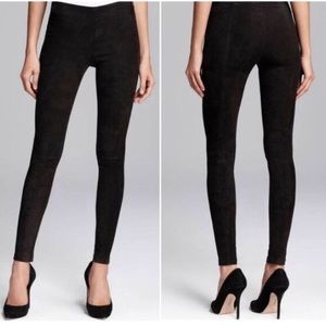 Vince Stretch Suede Leather Skinny Pants Leggings